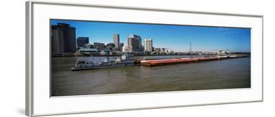 Barge in the Mississippi River, New Orleans, Louisiana, USA--Framed Photographic Print