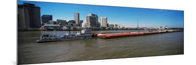 Barge in the Mississippi River, New Orleans, Louisiana, USA--Mounted Photographic Print
