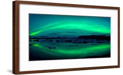 Aurora Borealis or Northern Lights over the Jokulsarlon Lagoon, Iceland--Framed Photographic Print
