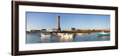 Boats in the Sea with a Lighthouse in the Background, Phare D'Eckmuhl, Penmarc'H, Finistere--Framed Photographic Print