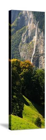 Waterfall, Lauterbrunnen Valley, Wengen, Lauterbrunnen, Interlaken-Oberhasli, Bernese Oberland--Stretched Canvas Print