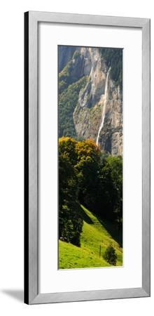 Waterfall, Lauterbrunnen Valley, Wengen, Lauterbrunnen, Interlaken-Oberhasli, Bernese Oberland--Framed Photographic Print