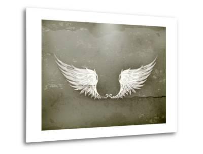 Wings White, Old-Style Vector-Nataliia Natykach-Metal Print