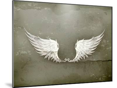 Wings White, Old-Style Vector-Nataliia Natykach-Mounted Art Print