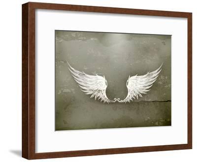 Wings White, Old-Style Vector-Nataliia Natykach-Framed Art Print