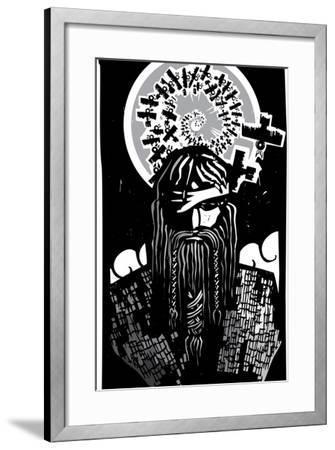 Norse God Odin with Spiral Crows-JeffreyThompson-Framed Art Print