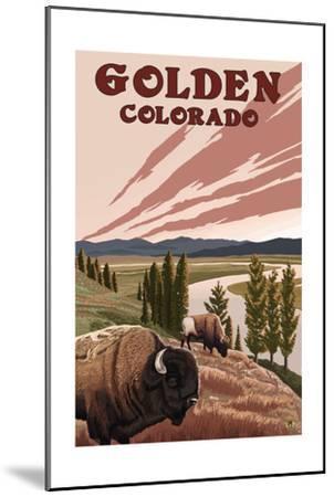 Golden, Colorado - Bison and River-Lantern Press-Mounted Art Print