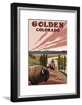 Golden, Colorado - Bison and River-Lantern Press-Framed Art Print