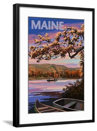 Maine - Lake at Dusk-Lantern Press-Framed Art Print