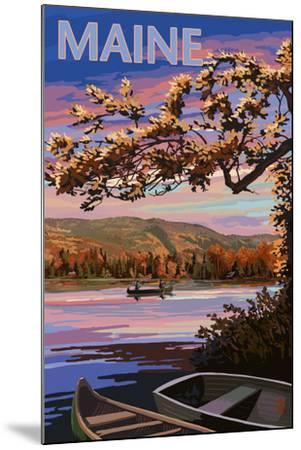 Maine - Lake at Dusk-Lantern Press-Mounted Art Print
