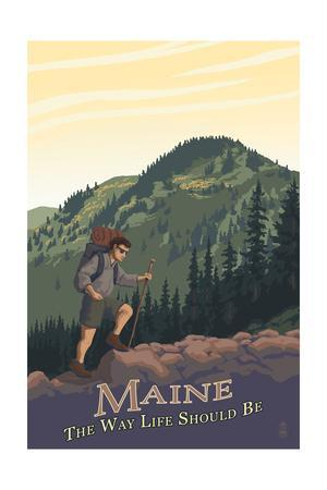 Maine - Hiking Scene - the Way Life Should Be-Lantern Press-Framed Art Print