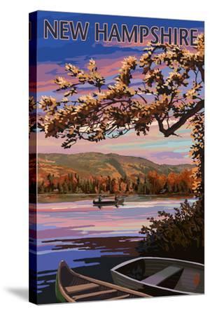 New Hampshire - Lake at Dusk-Lantern Press-Stretched Canvas Print