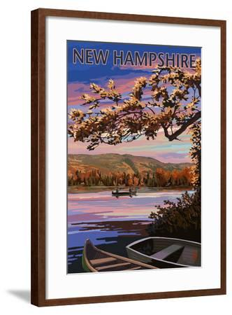 New Hampshire - Lake at Dusk-Lantern Press-Framed Art Print