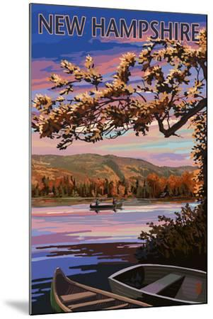 New Hampshire - Lake at Dusk-Lantern Press-Mounted Art Print