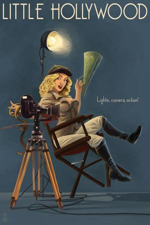Little Hollywood - Kanab, Utah - Directing Pinup Girl-Lantern Press-Stretched Canvas Print