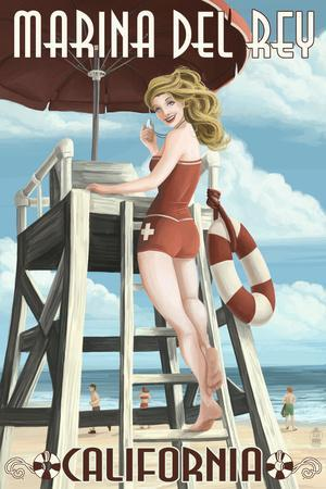 Marina Del Rey, California - Lifeguard Pinup-Lantern Press-Framed Art Print