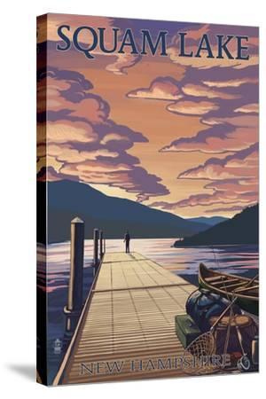 Squam Lake, New Hampshire - Dock and Sunset-Lantern Press-Stretched Canvas Print