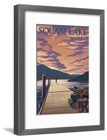 Squam Lake, New Hampshire - Dock and Sunset-Lantern Press-Framed Art Print