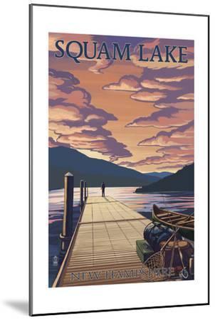 Squam Lake, New Hampshire - Dock and Sunset-Lantern Press-Mounted Art Print