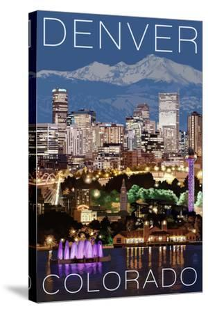 Denver, Colorado - Skyline at Night-Lantern Press-Stretched Canvas Print
