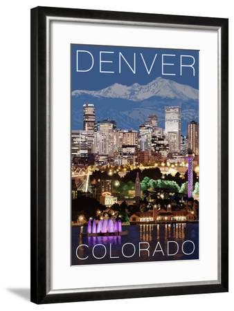 Denver, Colorado - Skyline at Night-Lantern Press-Framed Art Print