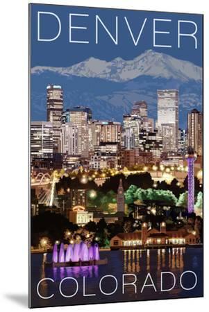 Denver, Colorado - Skyline at Night-Lantern Press-Mounted Art Print