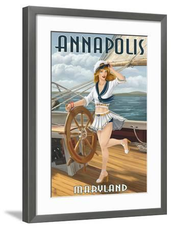 Annapolis, Maryland - Pinup Girl Sailing-Lantern Press-Framed Art Print