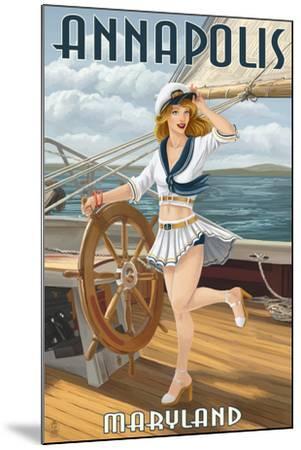 Annapolis, Maryland - Pinup Girl Sailing-Lantern Press-Mounted Art Print
