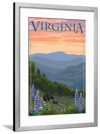 Virginia - Black Bear and Cubs Spring Flowers-Lantern Press-Framed Art Print