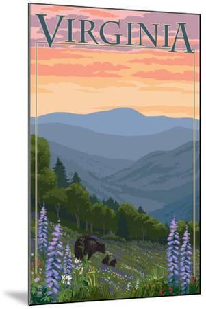 Virginia - Black Bear and Cubs Spring Flowers-Lantern Press-Mounted Art Print