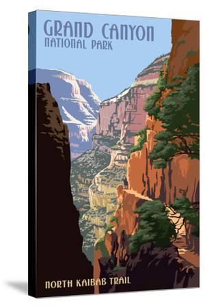 North Kaibab Trail - Grand Canyon National Park-Lantern Press-Stretched Canvas Print