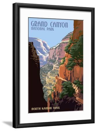 North Kaibab Trail - Grand Canyon National Park-Lantern Press-Framed Art Print