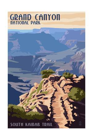 South Kaibab Trail - Grand Canyon National Park-Lantern Press-Stretched Canvas Print