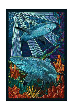 Black Tip Reef Shark - Paper Mosaic-Lantern Press-Framed Art Print