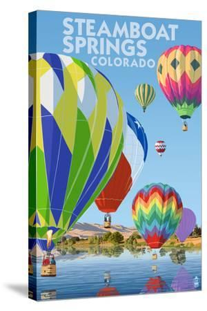 Steamboat Springs, Colorado - Hot Air Balloons-Lantern Press-Stretched Canvas Print