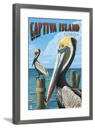 Captiva Island, Florida - Brown Pelican-Lantern Press-Framed Art Print