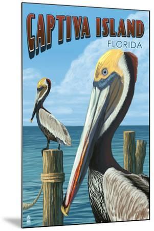 Captiva Island, Florida - Brown Pelican-Lantern Press-Mounted Art Print