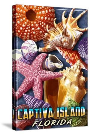 Captiva Island, Florida - Shell Montage-Lantern Press-Stretched Canvas Print