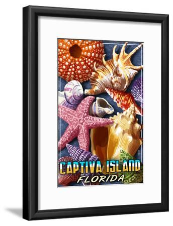 Captiva Island, Florida - Shell Montage-Lantern Press-Framed Art Print