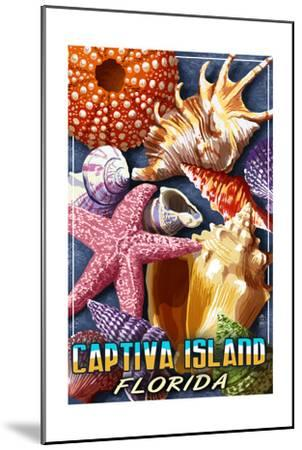 Captiva Island, Florida - Shell Montage-Lantern Press-Mounted Art Print