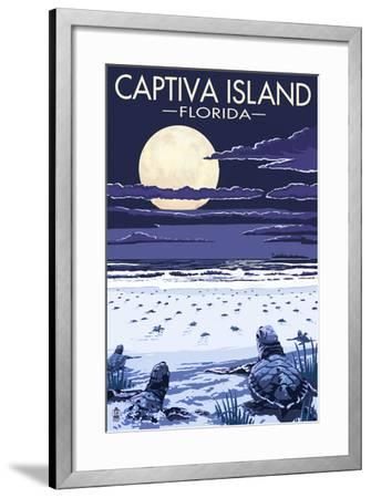 Captiva Island, Florida - Sea Turtles Hatching-Lantern Press-Framed Art Print