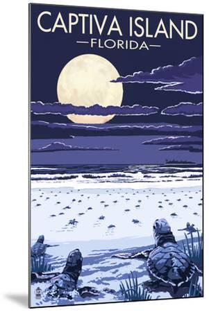 Captiva Island, Florida - Sea Turtles Hatching-Lantern Press-Mounted Art Print