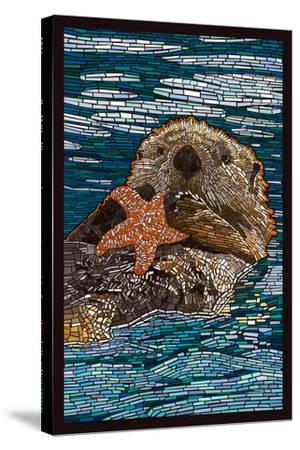 Sea Otter - Paper Mosaic-Lantern Press-Stretched Canvas Print