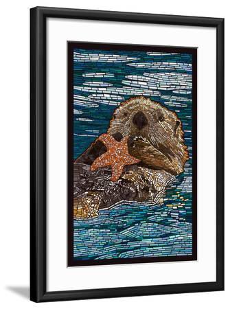Sea Otter - Paper Mosaic-Lantern Press-Framed Art Print