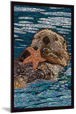 Sea Otter - Paper Mosaic-Lantern Press-Mounted Art Print
