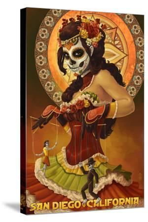 Day of the Dead Marionettes - San Diego, California-Lantern Press-Stretched Canvas Print