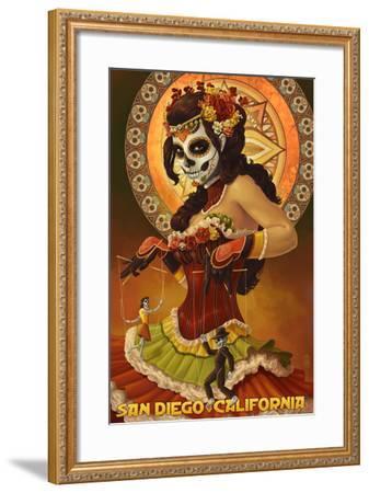 Day of the Dead Marionettes - San Diego, California-Lantern Press-Framed Art Print