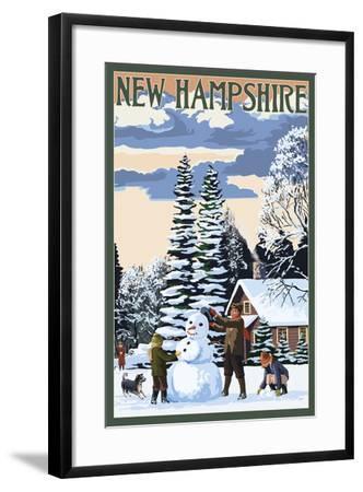 New Hampshire - Snowman Scene-Lantern Press-Framed Art Print