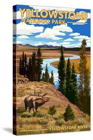 Yellowstone National Park - Yellowstone River and Elk-Lantern Press-Stretched Canvas Print