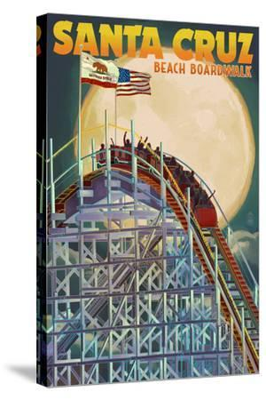 Santa Cruz, California - Big Dipper Coaster and Moon-Lantern Press-Stretched Canvas Print